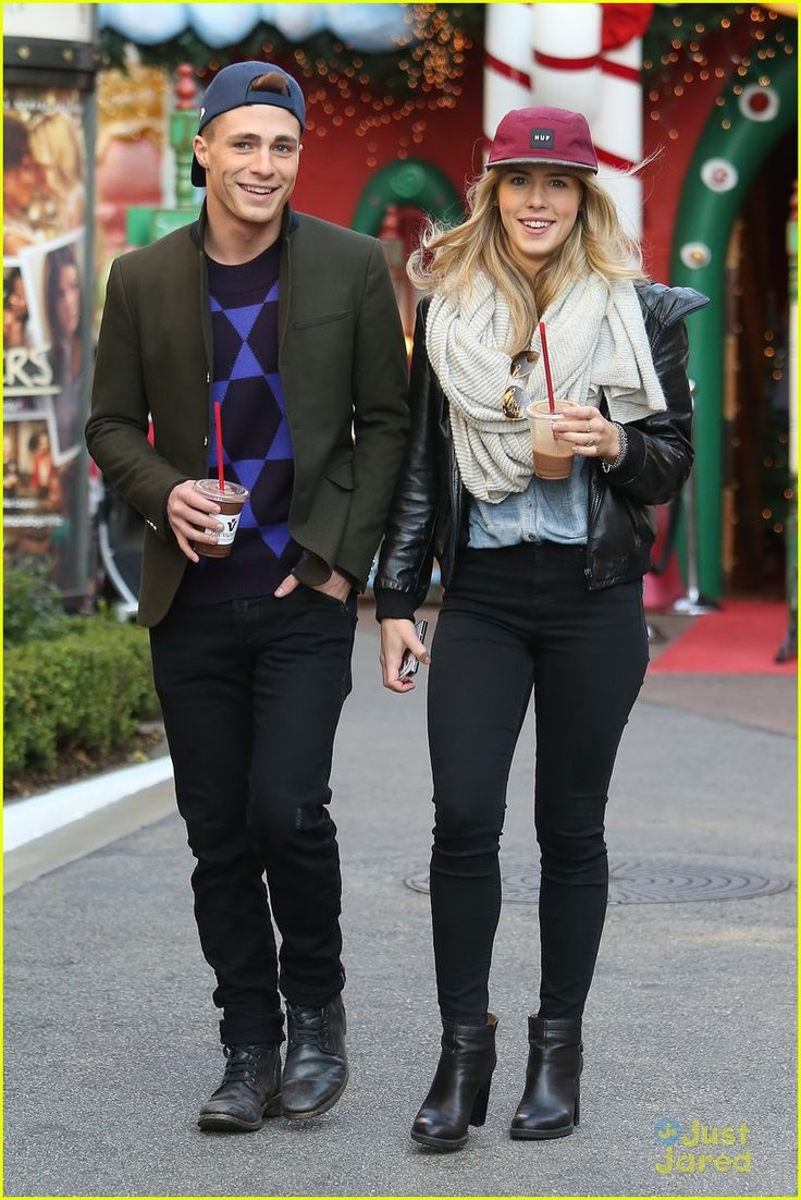 Colton Haynes & Emily Bett Rickards step out together at The Grove