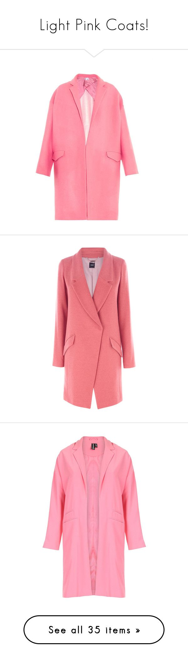 """""""Light Pink Coats!"""" by miss-image ❤ liked on Polyvore featuring outerwear, coats, jackets, tops, pink, long pink coat, raey, pink coat, cocoon coats and pink cocoon coat"""