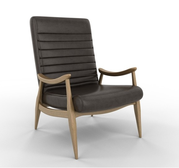Reynolds Caramel wood/leather chair. This mid-century inspired chair is about perfect.
