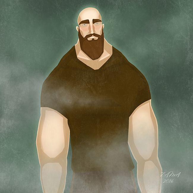 Zama Art on Behance #zama #zamart #illustration #cute #procreate #ipencil #art #illustrations #strong #strongman #beard