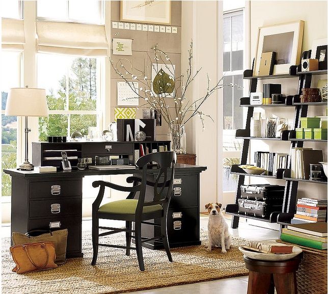 Living Room Incredible Home Office Design Idea With Black Desk With White  Desk Lamp Black Chair With Light Green Seat Cushion Black Open Shelves And  Light ...