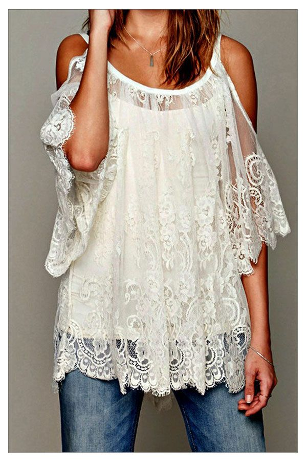Off-the-Shoulder Lace Boho Blouse from Paris Rags