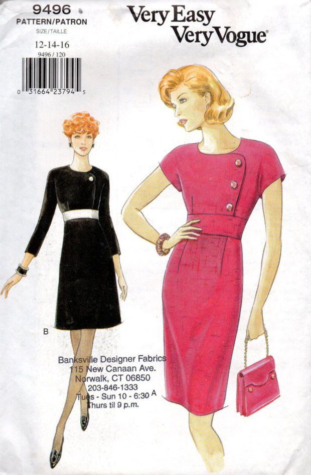 vogue sewing pattern 9496 cocktail wiggle dress