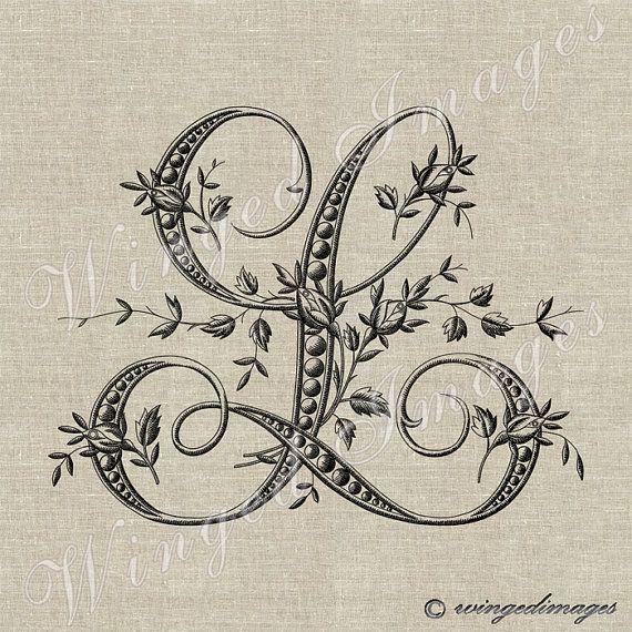 Antique Français Monogram lettre L Instant par WingedImages sur Etsy                                                                                                                                                                                 Plus