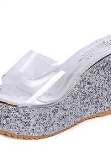 Silver Transparent Shiny Peep Toe Platform Slippers 220x330 Keep your feet warm in slippers
