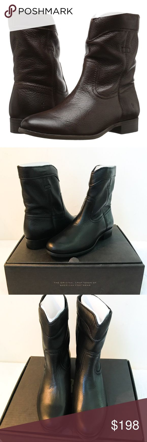 Frye Short Cara Black Leather Boots Reasonable offers welcome. Same or next day shipping. Brand new in box; retail at $328. Fall is coming - are you ready?! The Frye Cara Roper Short boot is made of a soft, pliable leather that can be worn up or softly scrunched down to fit your personal style. Soft pebble full grain leather upper. Curved topline. Unlined interior for a lightweight construction. Lightly cushioned leather footbed for added comfort. Chunky stacked heel. Durable rubber outsole…