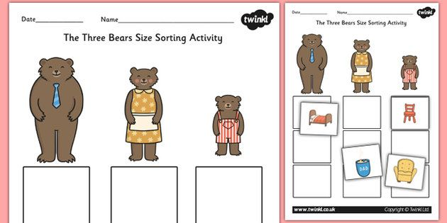 goldilocks and the three bears size sorting activity story book book story pinterest. Black Bedroom Furniture Sets. Home Design Ideas