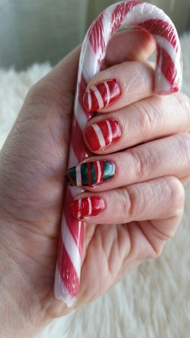 Christmasy nails. A bit messy since I was in a hurry.