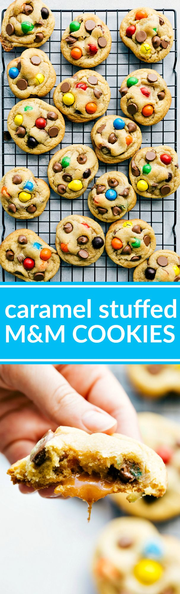 Loaded caramel stuffed cookies with big chocolate chips, gooey caramel center, and big M&Ms. Recipe from Chelsea's Messy Apron.