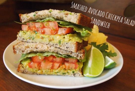 Smashed Chickpea and Avocado Salad Sandwich, recipe here: http://www ...
