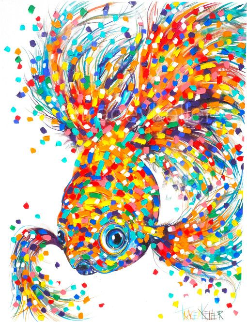 Floating 1 Fish Tracey Keller Painting
