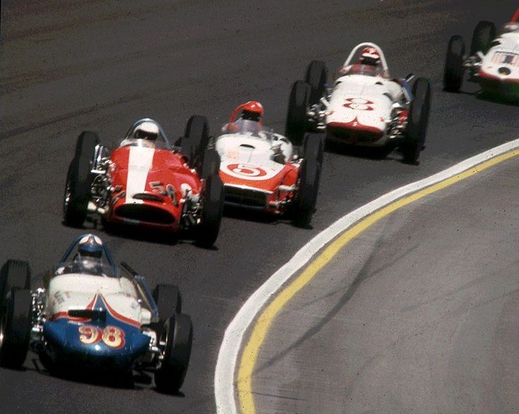 AWESOME color shot from the 63' Indianapolis 500. 98 Parnelli Jones, 56 Jim Hurtubise, 5 Bobby Marshman, 8 Jim McElreath, 1 Rodger Ward.