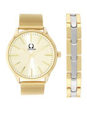 Legion Men's Men's Gold-Tone Mesh Bracelet Set - Gold - One Size