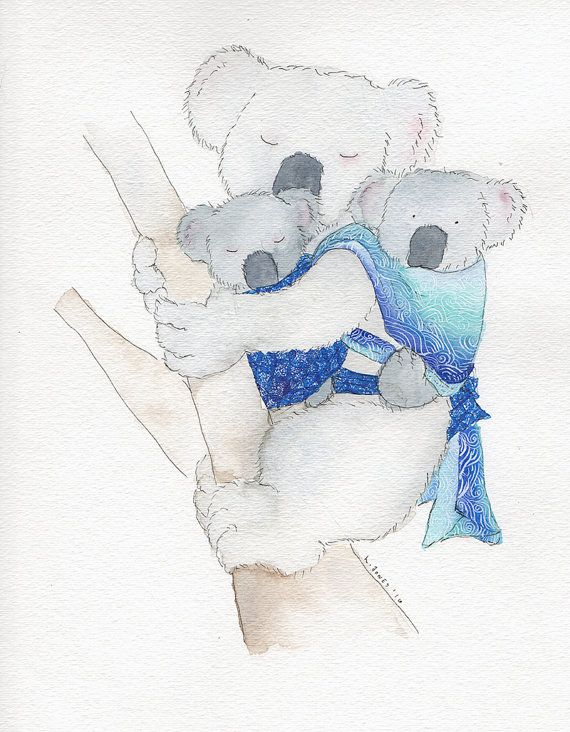 Babywearing Koala Print Tandem Oscha by LindseyJonesStudio on Etsy