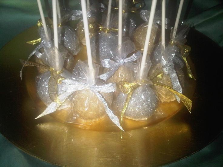 Silver Gold PB & J cake pops | My cake pops | Pinterest