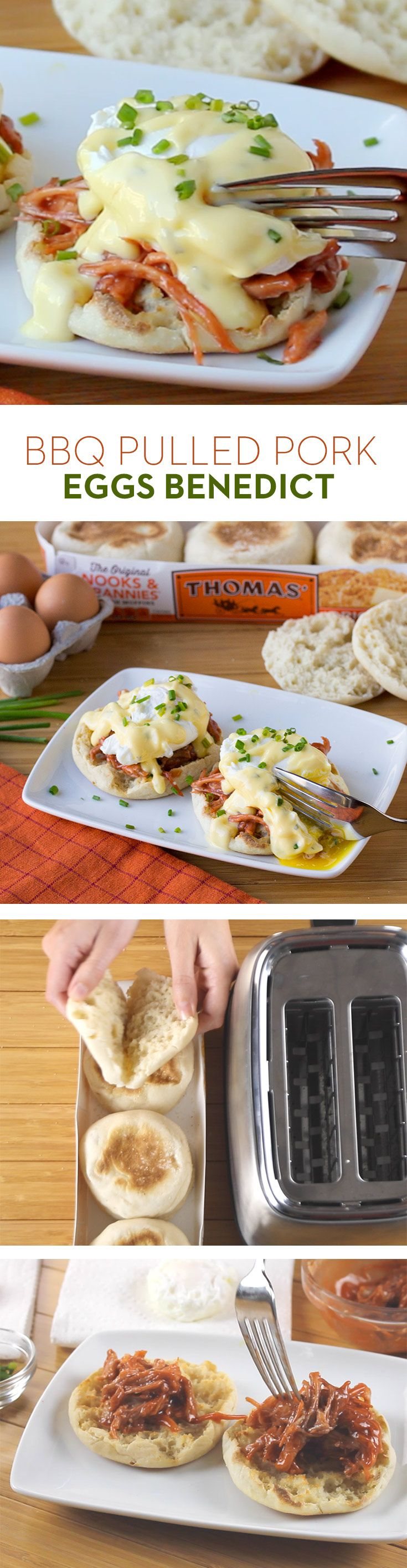 BBQ Pulled Pork Eggs Benedict: Make brunch extra delicious by adding pulled pork to a classic eggs Benedict along with BBQ sauce, hollandaise and chives on a Thomas' Original English Muffin.