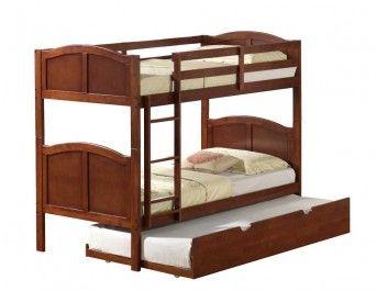 Twin/Twin Hardwood Arch Panel Bunk Bed Walnut