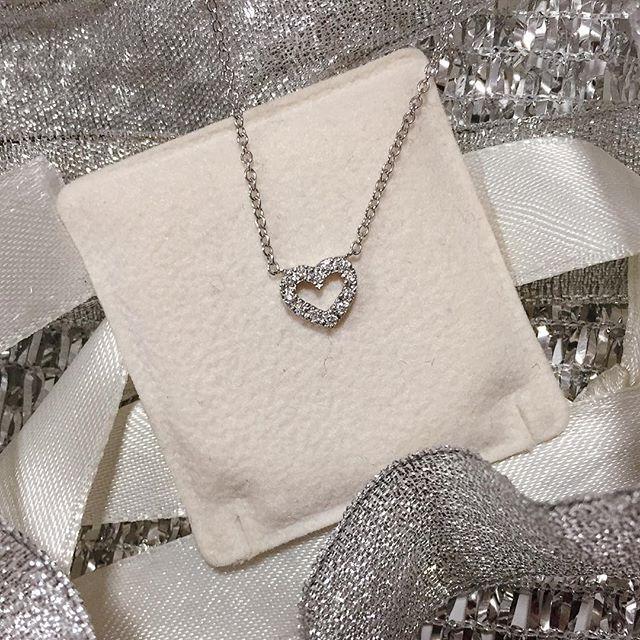 Girocollo in oro bianco con cuore piccolo di diamanti 0,09ct G VS - CICALA - Cicala.it