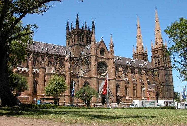 A distinctive landmark just east of Sydney's Hyde Park in the heart of the city is St Mary's Cathedral, the mother church of Australian Catholicism.