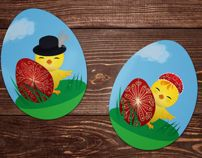 Cute Easter Chick Stickers Illustration