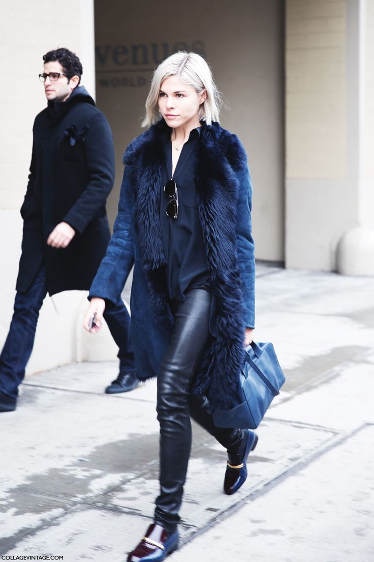 Street Style. long shearling coat. leather pants. black. navy.