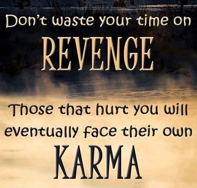 Don't waste your time on revenge. Those that hurt you will eventually face their own karma. Picture Quotes.