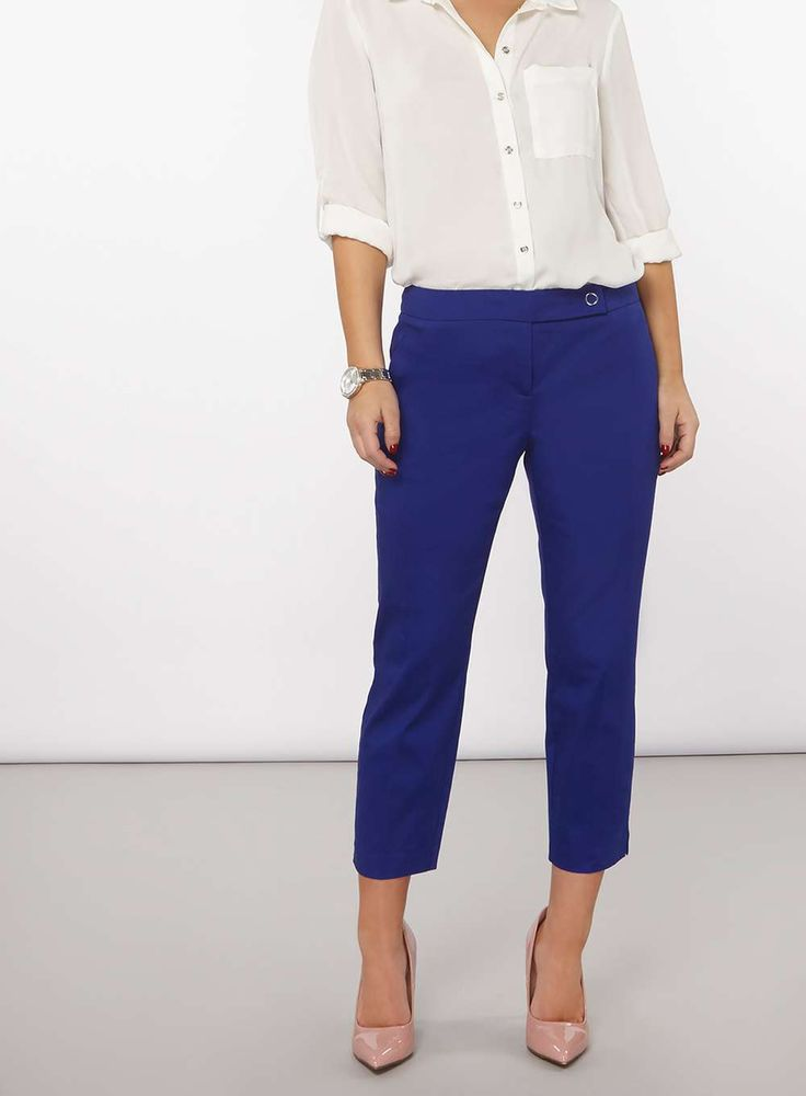 Womens Petite Cobalt Cropped Cotton Sateen Trousers- Cobalt