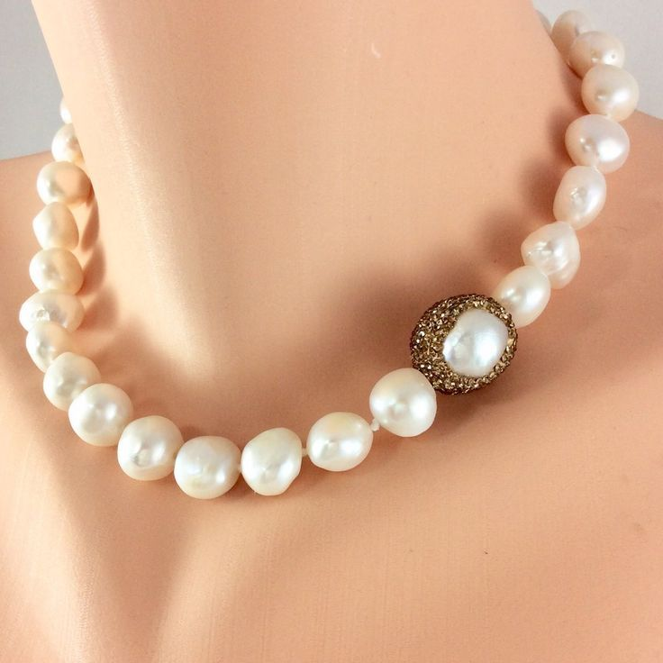 Golden Baroque Pearls Choker Necklace Loulia Pearl Jewelry Golden Baroque Pearls Choker Ne Beautiful Pearl Necklace Pearl Choker Pearl Statement Necklace