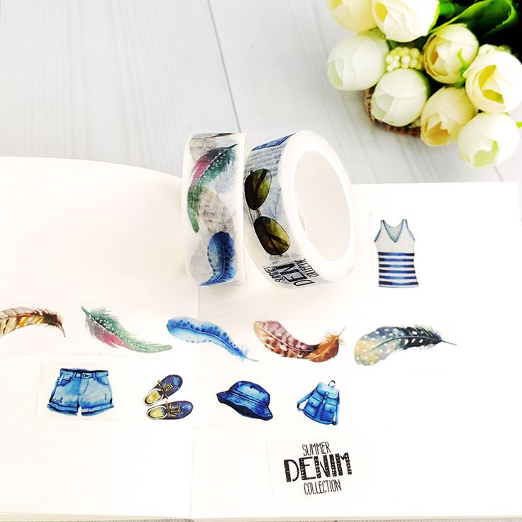15mmX7m color Feathers and backpack DIY decoration washi tape Scrapbooking Masking Tape School Supplies Office Adesivo etichetta