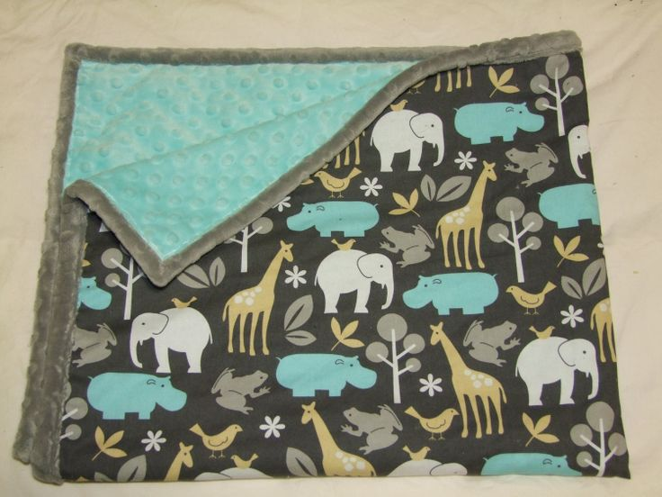 Baby Boy Blanket in Zoology in Blues by taramcwilliams on Etsy, via Etsy.