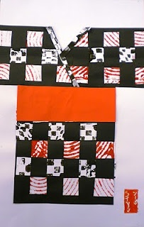 kimono weavings - the older child can print his own paper and a younger child could weave with origami paper