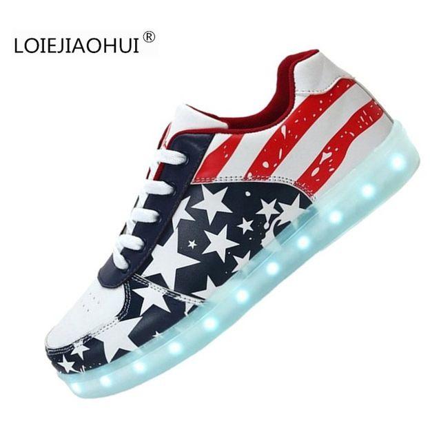 Nueva Caliente 2016 Zapatos unisex Luminoso resplandor Led Hombres y Mujeres bandera americana Zapatos para Adultos Zapatos Casuales USB Recargable de Luz Led