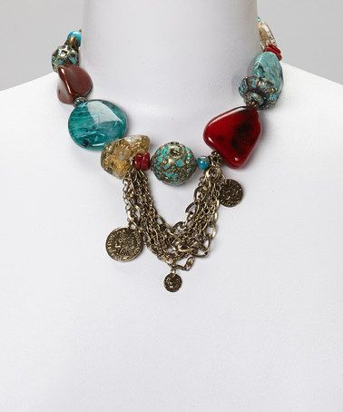 Loving this Turquoise Stone & Chain Necklace on #zulily! #zulilyfinds