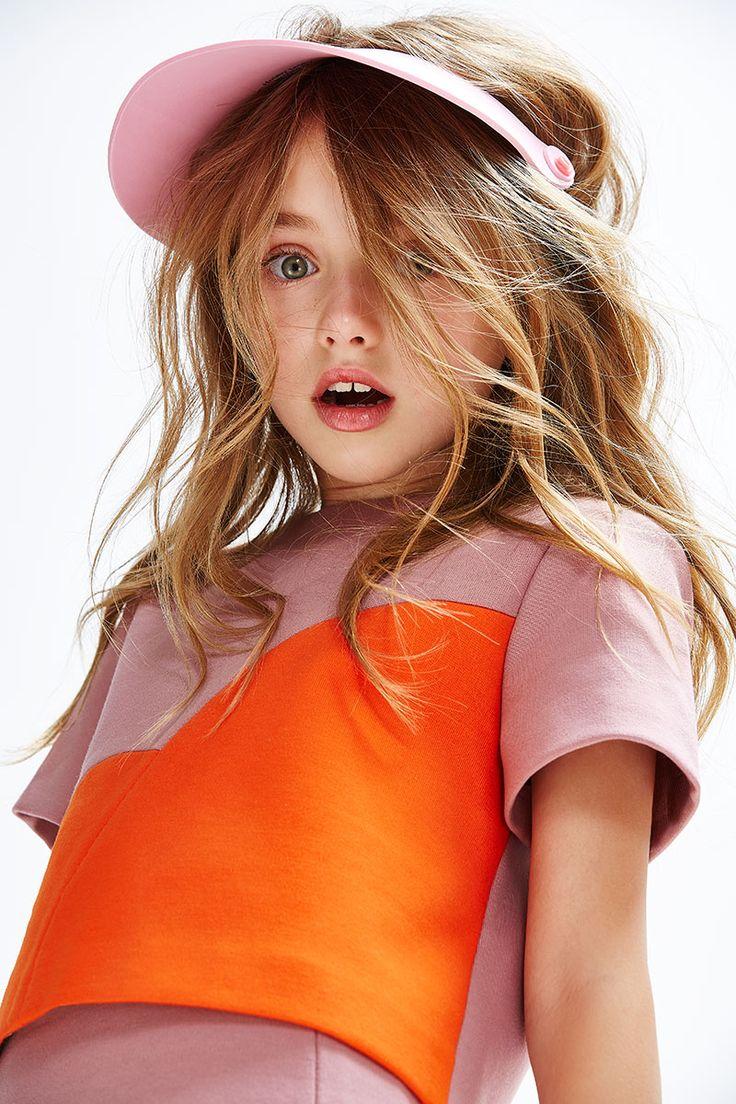 Great colour combination orange and pink by Senorita Lemoniez fall/winter 2015 kids fashion