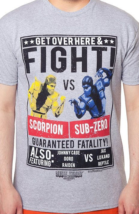 Scorpion vs Sub-Zero Mortal Kombat T-Shirt Video game geeks will love this poster like art from the popular Mortal Kombat game.  This would be a great gift!