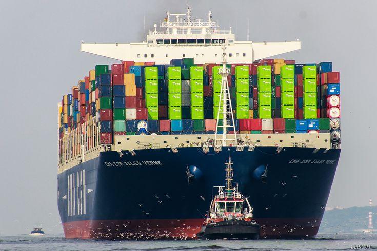 CMA CGM JULES VERNE by ELISCH Via Flickr: IMO: 9454450 MMSI: 228032900 Rufzeichen: FIFW Flagge: Frankreich (FR) AIS-Typ: Cargo- Bruttoraumzahl: 175.368 Tragfahigkeit: 186470 t Länge x Breite: 396 x...