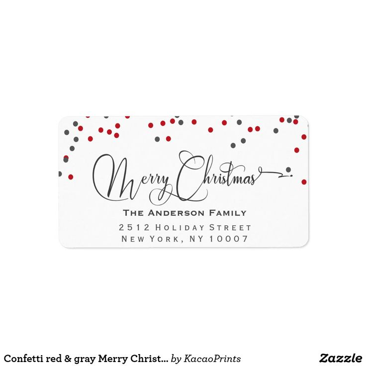 Confetti red & gray Merry Christmas address label Confetti red & gray modern address label