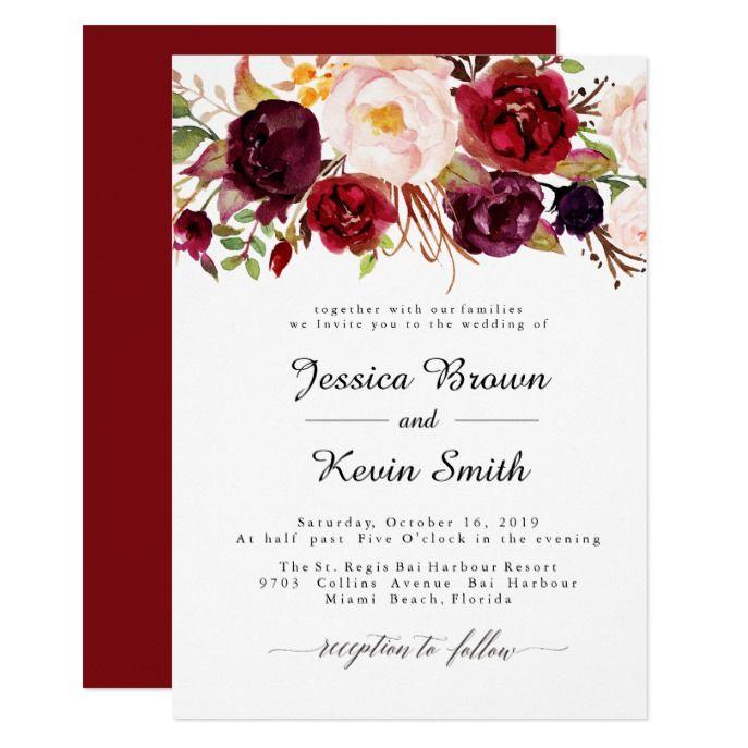 marsala burgundy floral wedding invitation 2 invitation in 2018 my