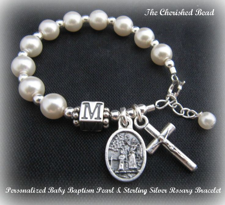 Personalized Baby Baptism Pearl Sterling Silver Rosary Bracelet with Guardian Angel Charm - for girl or boy. $25.00, via Etsy.