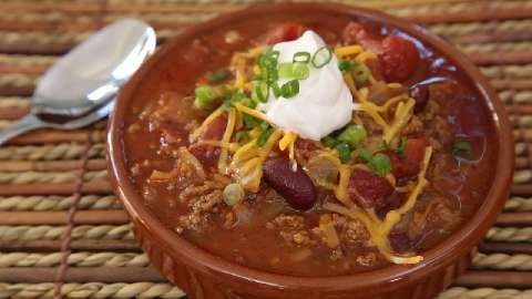Chili recipe all recipes. Make without turkey. Add more veggies, beans.