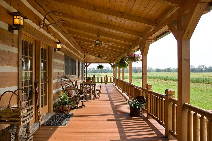 Exterior, horizontal, front porch, DeSocio residence, Henry, Tennessee, Honest Abe Log Homes on Log Homes, Timber Frame and Log Cabins by Honest Abe  http://www.honestabe.com/social-gallery/arcd-5074
