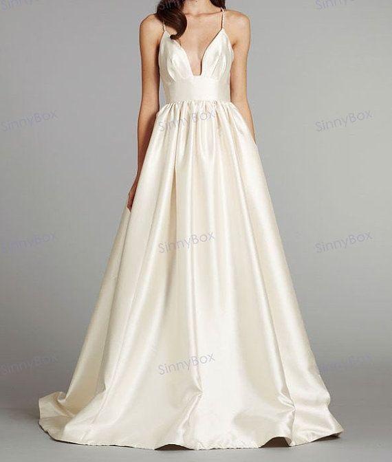 A line Spaghetti Strap Wedding Dress / Bridal Dress / Satin Wedding Gown/ Custom Wedding Dresses -Etsy