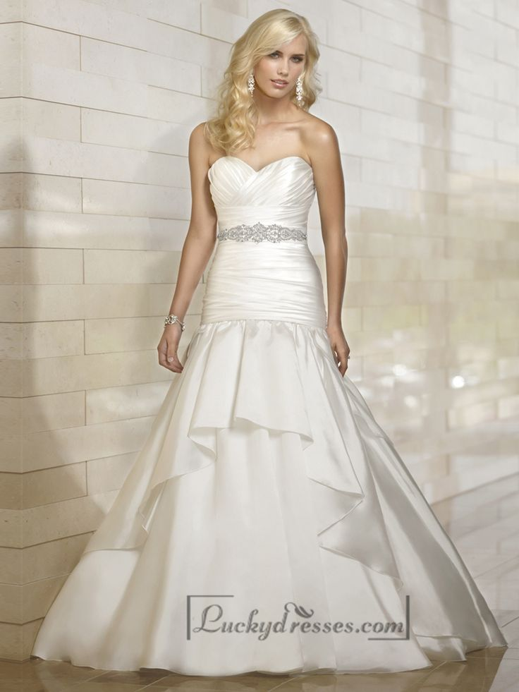 Organza Fit and Flare Cross Sweetheart Pleated Wedding Dresses with Tiered Skirt