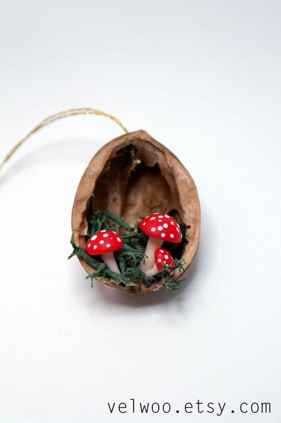Mushroom Christmas Ornaments – walnut shell ornament – Handmade Ornament – Holiday decor