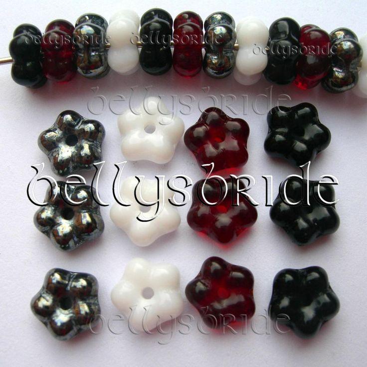 20 6-7mm Czech Glass Flower Jewellery Making Spacer Beads Assortment #flower