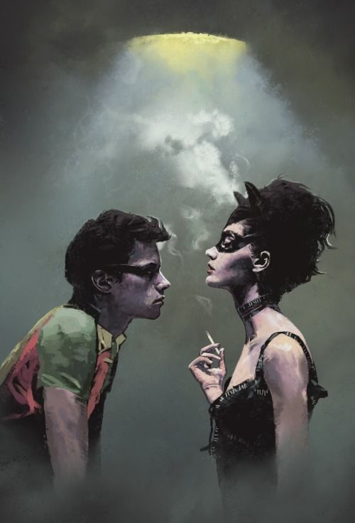Robin and Catwoman by Dave Seguin