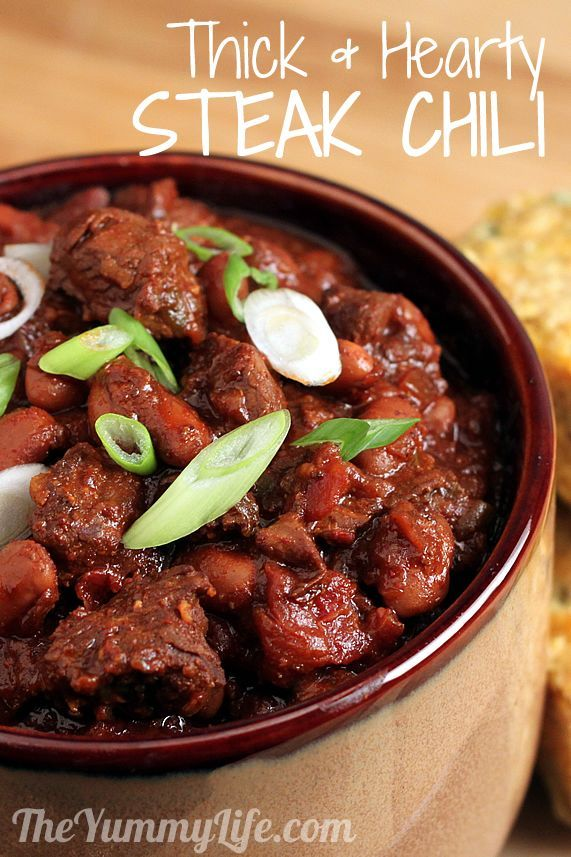 """My favorite chili recipe with steak that is unbelievably tender, and the flavor is rich beyond compare. It's great paired with jalapeno cornbread.""#karensantora#"