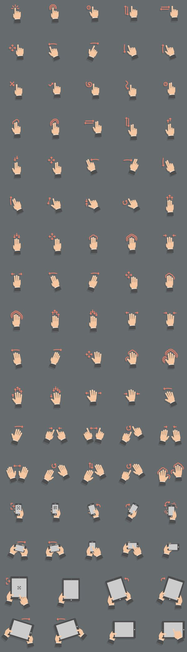 Flat Style Touch Screen Gestures Set by Mantas Bačiuška, via Behance