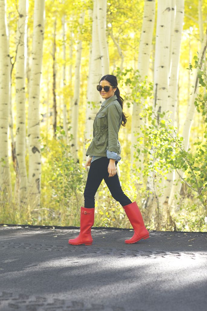 Olive Green Army Jacket, Leggings & Bright Red Hunter Rain Boots