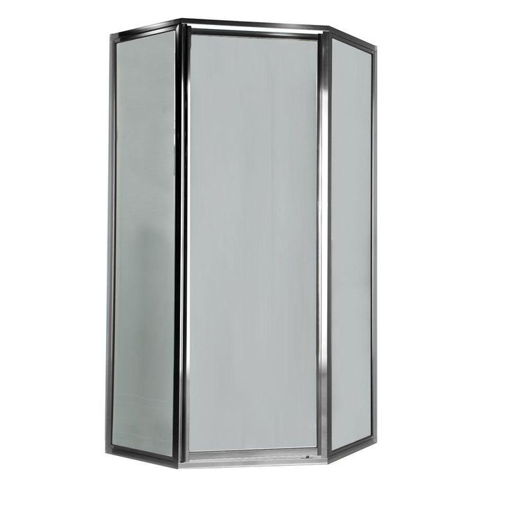 American Standard Prestige 16.6 inch x 24.1 inch x 16.6 inch x 68.5 Height Neo-Angle Shower Door in Silver and Clear Glass 468718